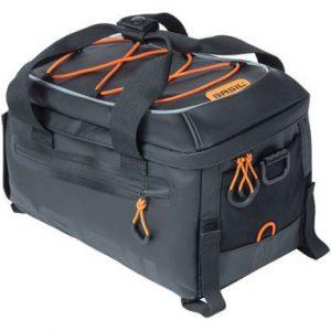 Basil dragertas Miles Tarpaulin trunkbag zwart oranje kopen bij FlorisFietsen in Hoogezand