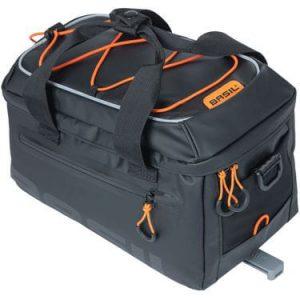 Basil dragertas Miles Tarpaulin trunkbag MIK zwart oranje kopen bij FlorisFietsen in Hoogezand